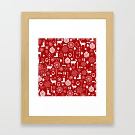 Red and white Christmas elements pattern Framed Art Print