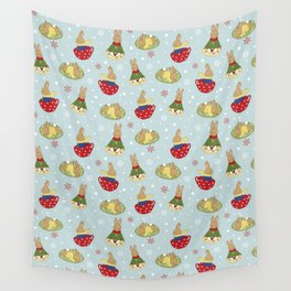 Tea Time in the Snow Wall Tapestry