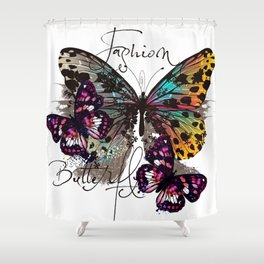 Fashion art print with colorful tropical butterly Shower Curtain