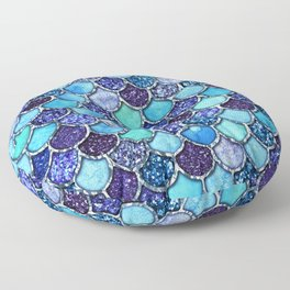 Colorful Teal & Blue Watercolor & Glitter Mermaid Scales Floor Pillow