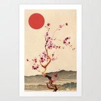 sakura Art Prints featuring Sakura by Ned & Ems