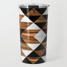 Urban Tribal Pattern No.9 - Aztec - Concrete and Wood Travel Mug