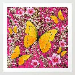 YELLOW BUTTERFLIES FUCHSIA GARDEN ART Art Print