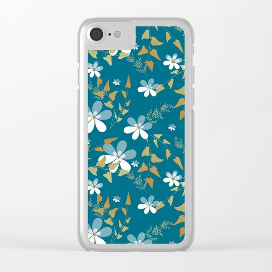 White flowers on a blue background . Clear iPhone Case
