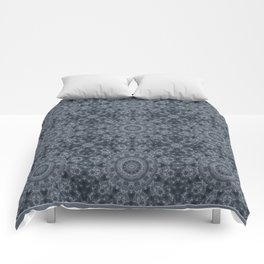 Gray - blue marble kaleidoscope, ornament elements print Comforters