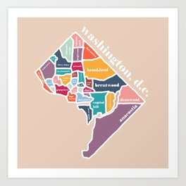 rainbow washington dc map Art Print