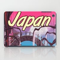 travel poster iPad Cases featuring Japan Cartoon vintage travel poster by Nick's Emporium Gallery