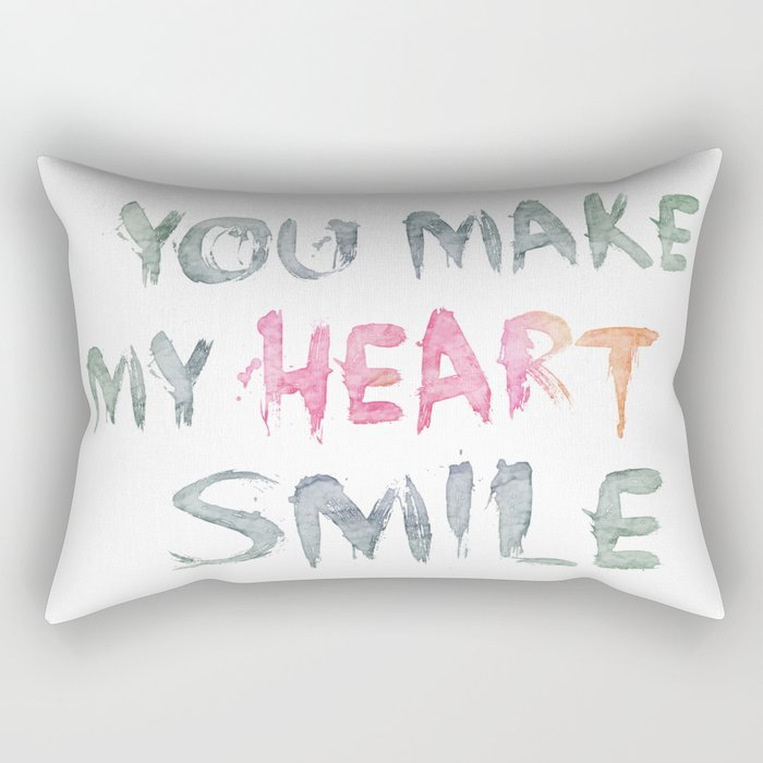 You make my heart smile ink lettering Rectangular Pillow