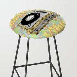 Retro Vibes Record Player Design in Yellow Bar Stool