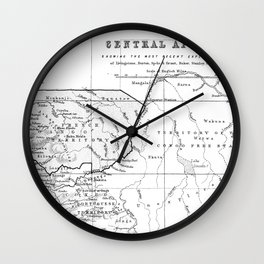 Black And White Vintage Map Of Africa Wall Clock
