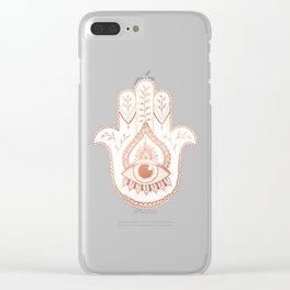 Hamsa Hand - Rosé Gold Clear iPhone Case