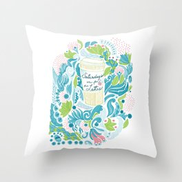 Saturdays are for the Lattes Throw Pillow