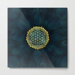 Flower of life gold an blue texture  glass Metal Print