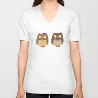 owls V-neck T-shirts featuring Owls by sheena hisiro