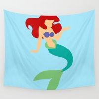 ariel Wall Tapestries featuring Ariel by Dewdroplet