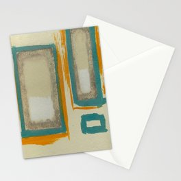 Soft And Bold Rothko Inspired - Corbin Henry Modern Art - Teal Blue Orange Beige Stationery Cards