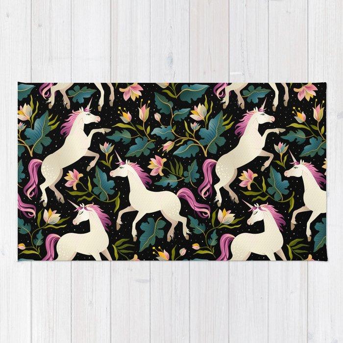 Dancing Unicorns In The Garden Fantasy Tapestry Pattern Rug