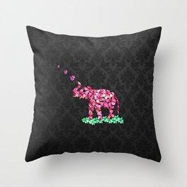 Retro Flower Elephant Pink Sakura Black Damask Throw Pillow