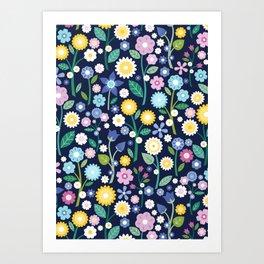 Spring Meadow Navy Art Print