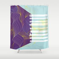 good vibes Shower Curtains featuring GOOD VIBES by Urban Artist