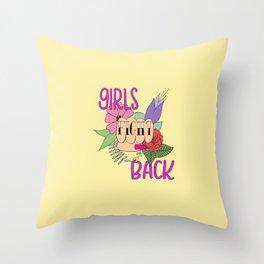Girls fight back - Yellow Throw Pillow