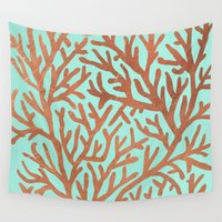 copper Wall Tapestries featuring Copper Coral by Cat Coquillette