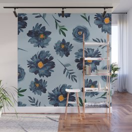 Watercolor Flower Pattern - Classic Blue - Indigo Wall Mural