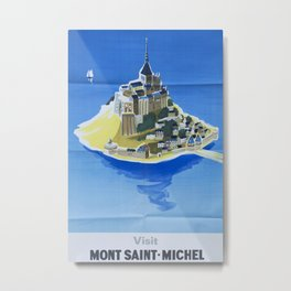 Mont Saint-Michel Vintage Travel Poster Metal Print
