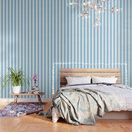 Cornflower heavenly - solid color - white vertical lines pattern Wallpaper