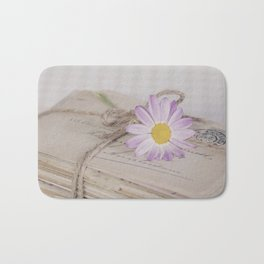 Shabby Chic Old Letters And Daisy Bath Mat