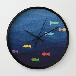 Coloured fish say hooray Wall Clock