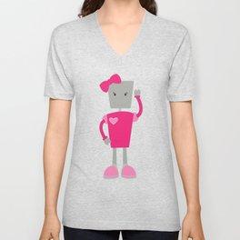 Cute Robot, Girl Robot, Pink Robot With Ribbon Unisex V-Neck