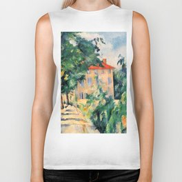 """Paul Cezanne """"House with red roof"""", 1890 Biker Tank"""