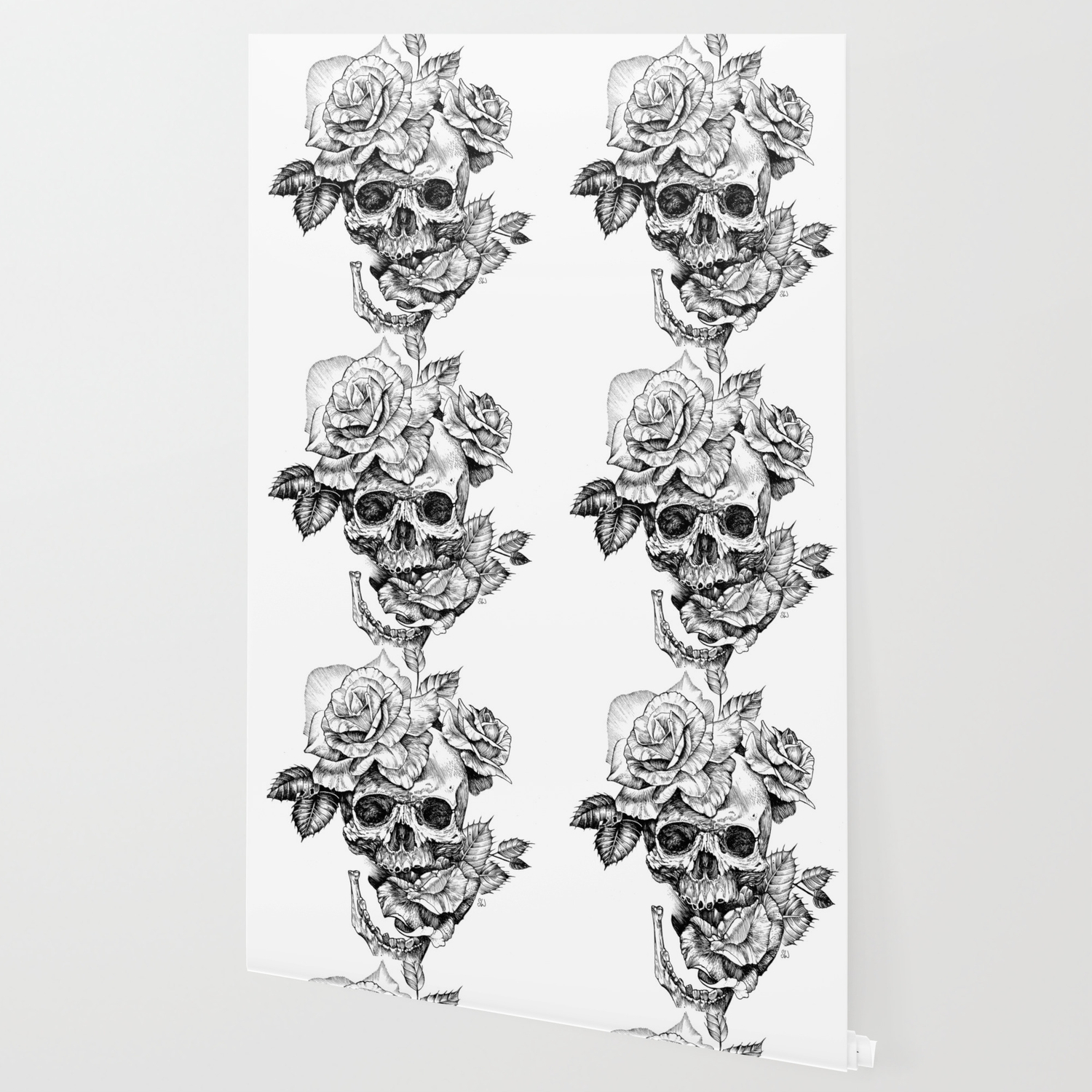 Black And White Skull With Roses Pen Drawing Wallpaper
