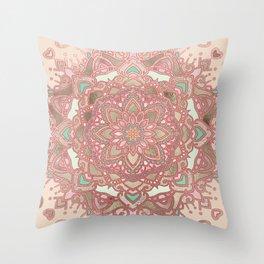 Rose gold cyan mandala Throw Pillow