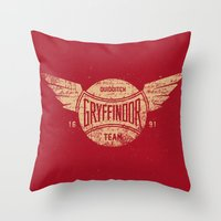 quidditch Throw Pillows featuring Vintage Gryffindor Quidditch Team by Gurven