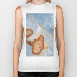 Baby Blue Marble with Rusty Veining Biker Tank