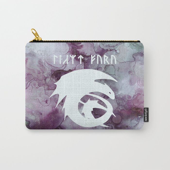 Vintage Dragon Watercolor Silhouette Carry-All Pouch