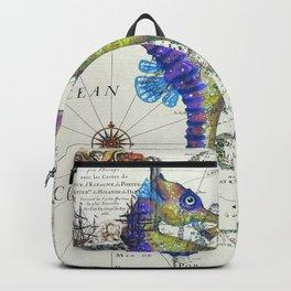 Blue Seahorse Kiss Backpack