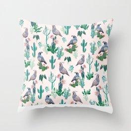 Cactus Quail  Throw Pillow