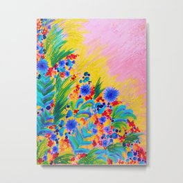 NATURAL ROMANCE in PINK - October Floral Garden Sweet Feminine Colorful Rainbow Flowers Painting Metal Print
