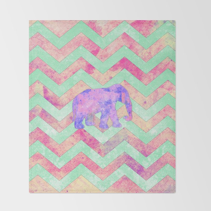 Whimsical Purple Elephant Mint Green Pink Chevron Throw Blanket By Stunning Pink Chevron Throw Blanket