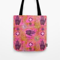hands Tote Bags featuring Hands by LebensART