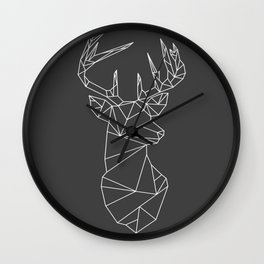 Greometric Stag (White on Grey) Wall Clock