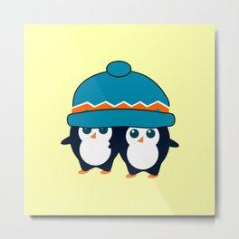 When two cute penguins find a beanie Metal Print