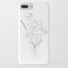 Small Wildflowers Minimalist Line Art iPhone Case