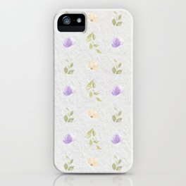 Lilac green hand painted floral leaves pattern iPhone Case