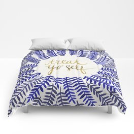 Treat Yo Self – Gold & Navy Comforters