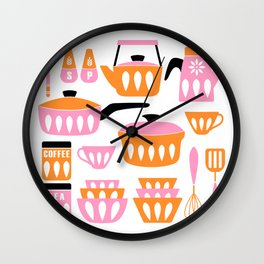 My Midcentury Modern Kitchen In Pink And Tangerine Wall Clock