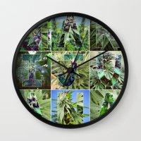 marijuana Wall Clocks featuring Marijuana Collage by Beautiful Buds 420